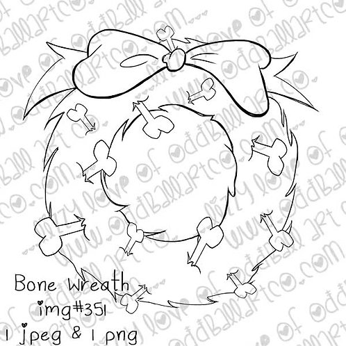 Digital Stamp Christmas 4 Pets | Creepmas 4 Skeletons Bone Wreath Image No.351