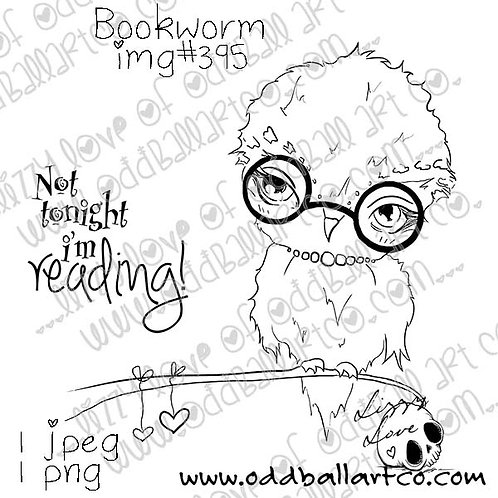 Big Eye Owl Digital Stamp - Bookworm Image No.395
