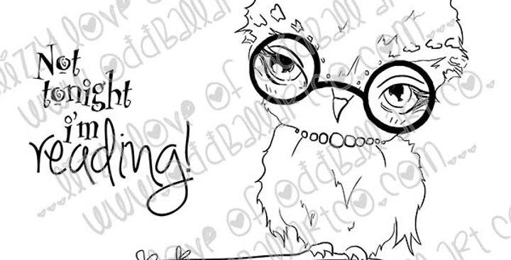 Big Eye Owl Digital Stamp - Bookworm Image No.395