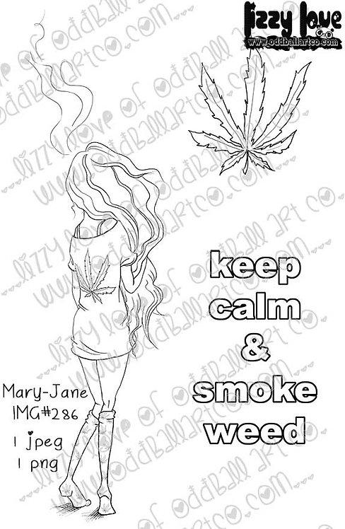 Digital Stamp Keep Calm & Smoke Weed Mary-Jane Image No. 286