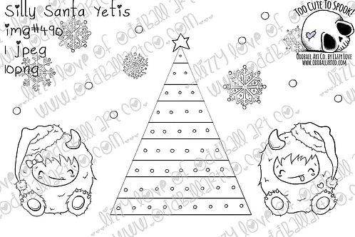 Digi Stamp Cute Christmas Silly Santa Yetis Image No. 490