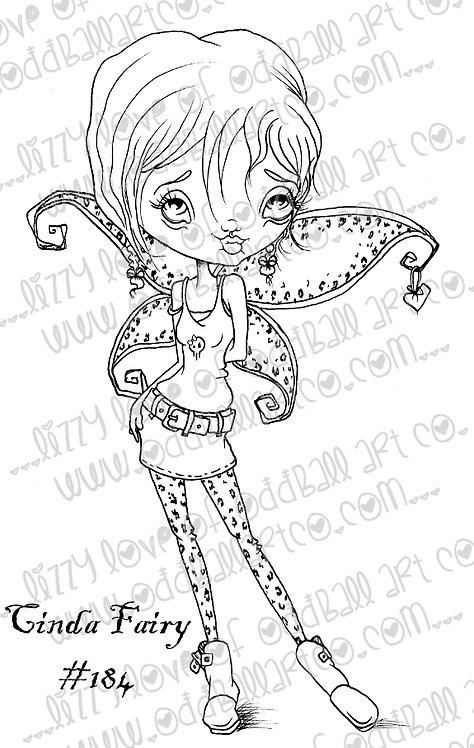 Printable Stamp Big Eye Leopard Print Fairy Cinda Digital Download Image No 184