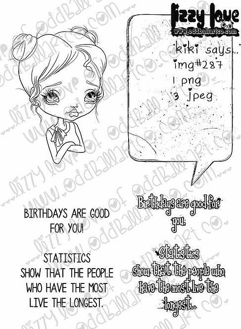 Digital Stamp Kawaii Sweet Girl Kiki Says... Image No. 287