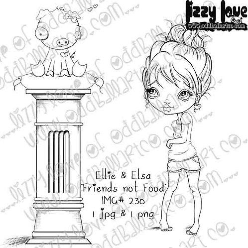 Digital Stamp  Kawaii Vegan Ellie & Elsa in Friends Not Food Image No. 230