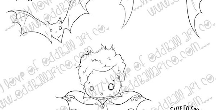 Digi Stamp Creepy Cute Bat Boy Haunting Henry Image No. 480