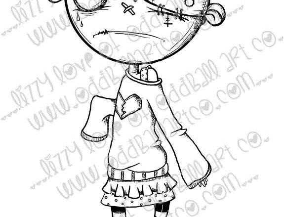 Digital Stamp Creepy Cute Zombie Sally Sadness Image No. 214