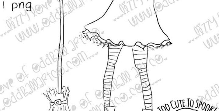 Digi Stamp Creepy Cute Witch Legs, Skirt, Striped Stockings & Broom Image #478
