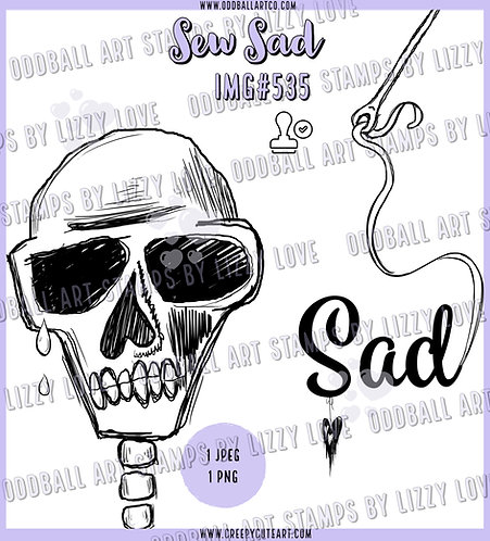Digi Stamp Sew Sad Crying Skull and Sentiment Image 535