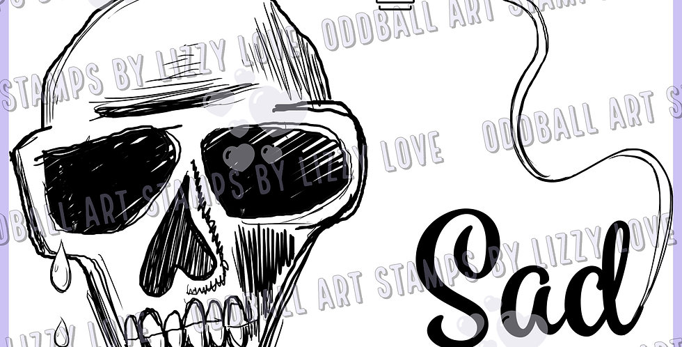 Digi Stamp Sew Sad Crying Skull and Sentiment Image 535