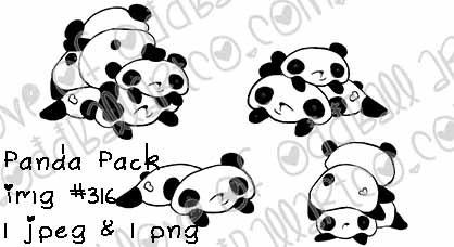Digital Stamp Kawaii Sweet & Silly Bears Panda Pack Image No.316