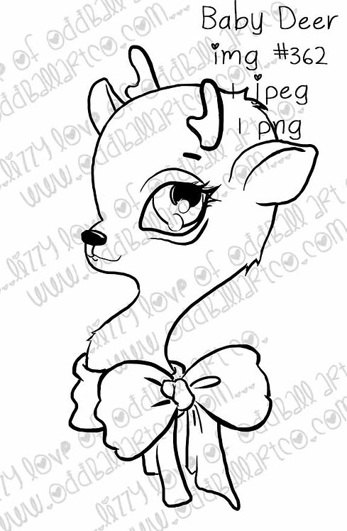Digital Stamp Cute Christmas Baby Deer with Bow Image No.362