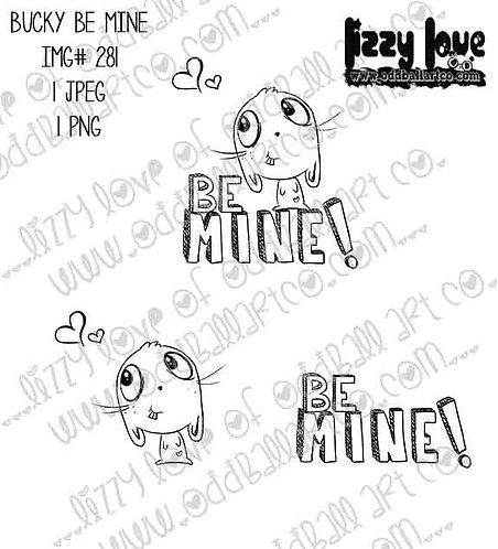 Digital Stamp Valentines Day Cute Big Eye Bunny Bucky Be Mine Image No. 281