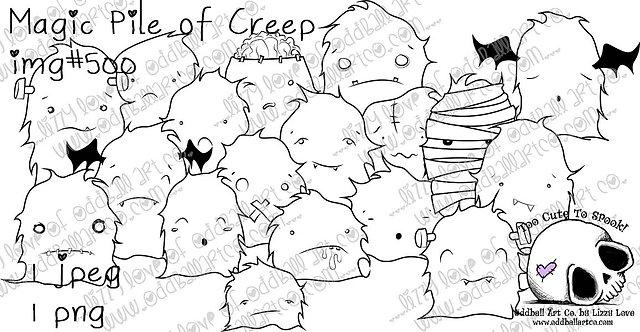 Digital Stamp Halloween Crowd ~ Magical Pile of Creep Image No.500