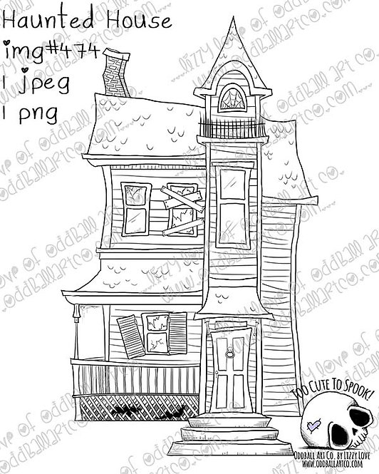 Digi Stamp Creepy Cute Whimsical Halloween Haunted House Image #474