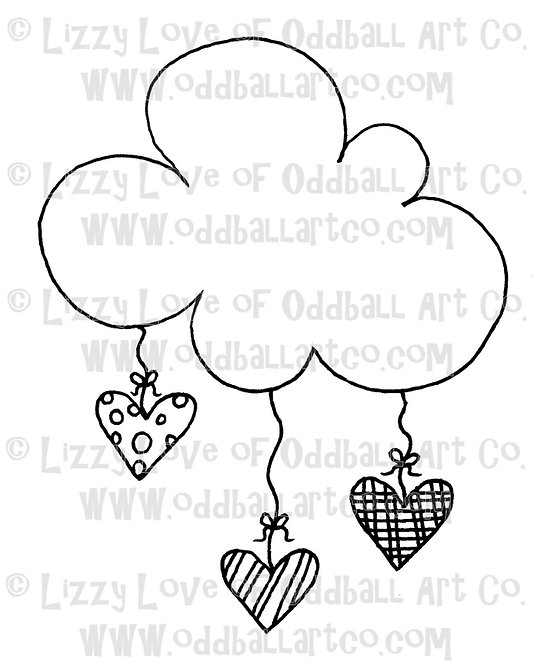 Digital Stamp Kawaii Cloud & Hearts Image No. 27