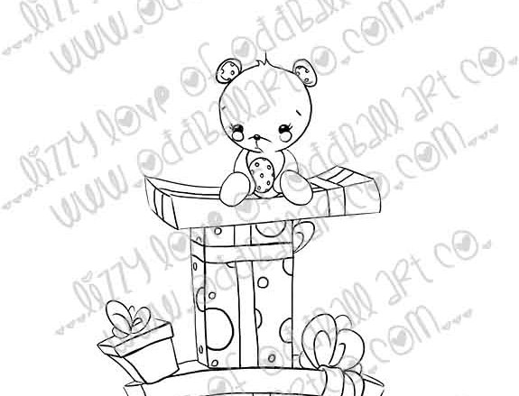 Digital Stamp Cute Kawaii Bear on Stack of Presents Image No. 260