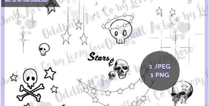 Digi Stamp Whimsical Creepy Cute Digital Collage Sheet Stars & Skulls IMG 541