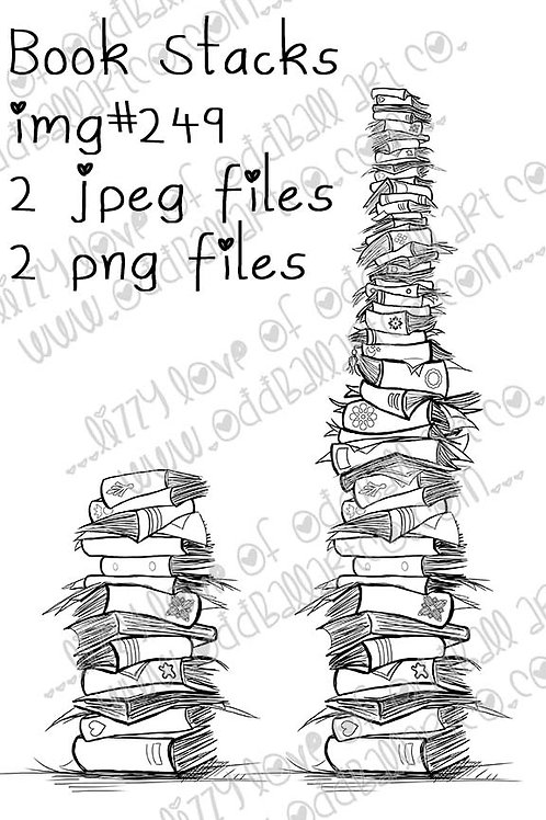 Digital Stamp Whimsical Book Stacks Short & Tall Image No. 249