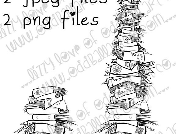 Digital Stamp Whimsical Book Stacks Short & Tall Image No. 249
