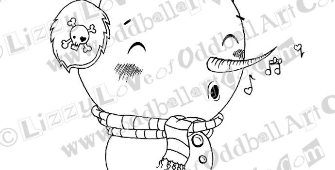Printable Stamp Kawaii Snowman Silly Chilly Stan Christmas Download Image No 138