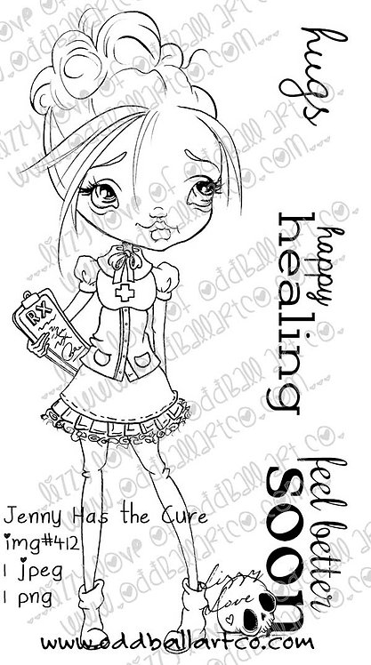 Digital Stamp Cute Whimsical Doctor/Nurse ~ Jenny Has the Cure Image No. 412