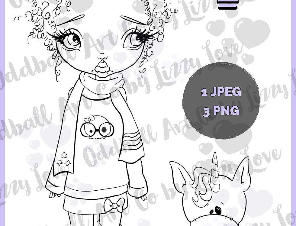 Digi Stamp Cute Big Eyed Girl & Her Unicorn Friend Rosy & Twinky Image 528