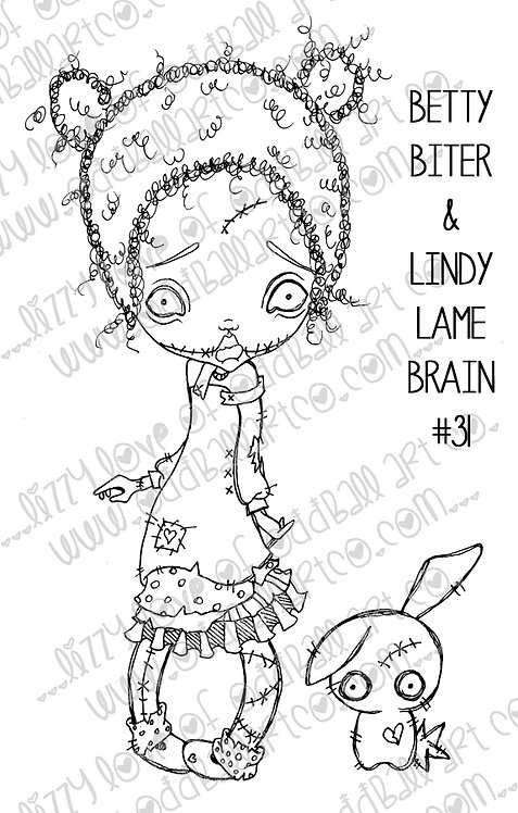 Digital Stamp Creepy Cute Zombie Betty Biter & Lindy Lame Brain Image No. 31