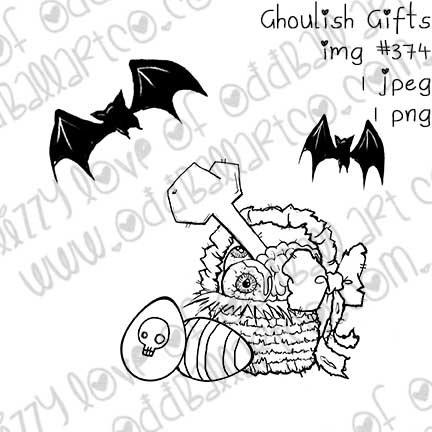 Digital Stamp Creepy Cute Easter Basket & Eggs Ghoulish Gifts Image No.374