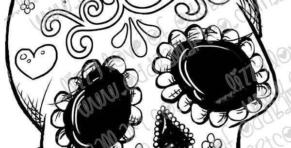 Digi Stamp Creepy Cute Sugar Skull Day of the Dead Image #475