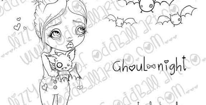Digital Stamp Creepy Cute Fran Tick & Dave the Bat in Nightmares Image No. 227