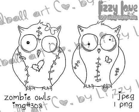 Digital Stamp Creepy Cute Big Eye His & Hers Zombie Owls Image No.308