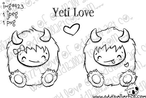 Digital Stamp Cute & Whimsical Abominable Snowman Yeti Love Image No. 423