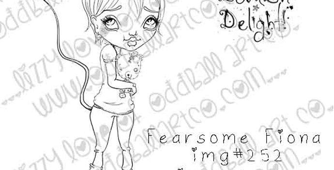 Digital Stamp Kawaii Spooky Devil Girl & Teddy Fearsome Fiona Image 252