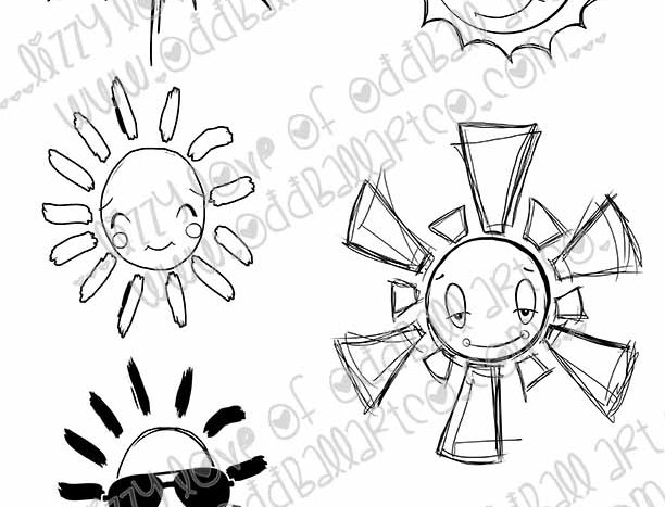 Digital Stamp Set of 10 Suns with / without Faces Image No. 313