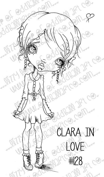 Printable Stamp Big Eye Girl Clara In Love Digital Download Image No 128