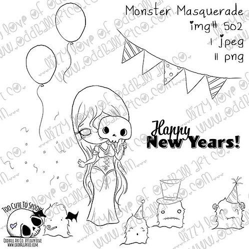 Digi Stamp Creepy Cute New Years Monster Masquerade Image 502