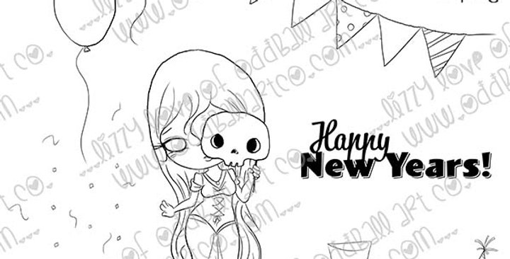 Digi Stamp Creepy Cute New Years Monster Masquerade Image 502