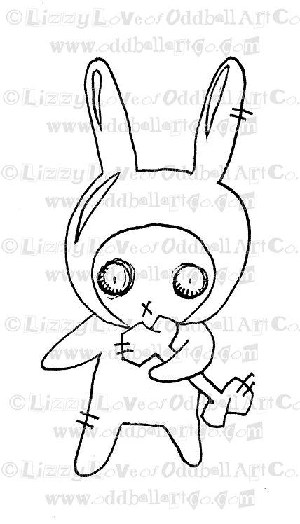 Digital Stamp Creepy Cute Big Eye Ninja Zombie Bunny Chibi Image No. 54 & 55