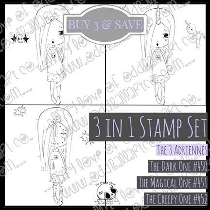 Digi Stamp 3 in 1 Adrienne 18 Files Stamp Set Image No 450 - 452