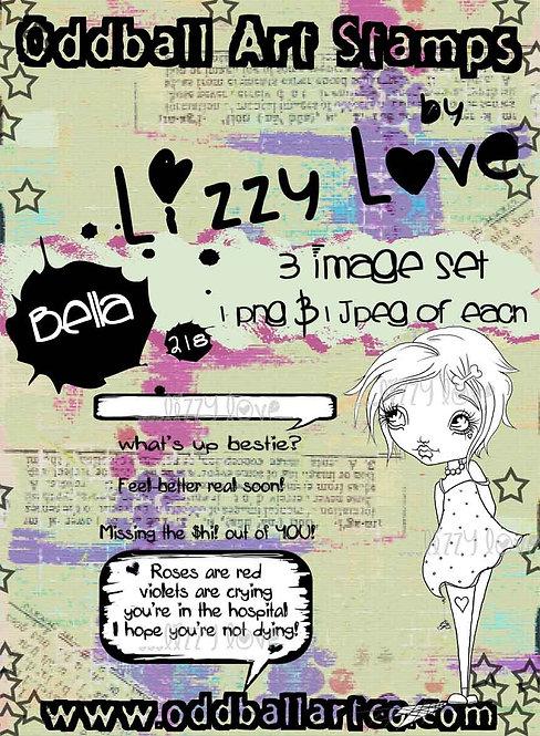 Digital Stamp Whimsical Big Eye Girl Bella Image No. 218