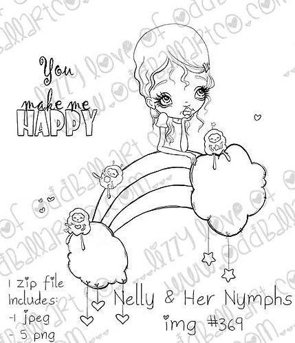 Digital Stamp Big Eye Rainbow Nelly & Her Nymphs Image No. 369