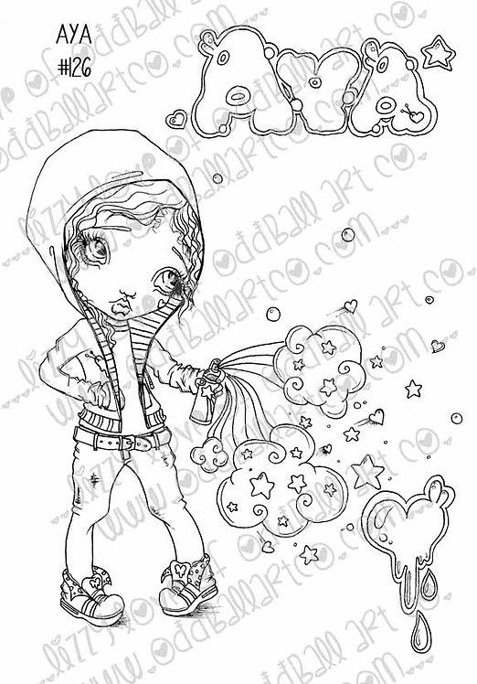 Printable Stamp Big Eye Girl Aya Tags the Wall Download Image No 126