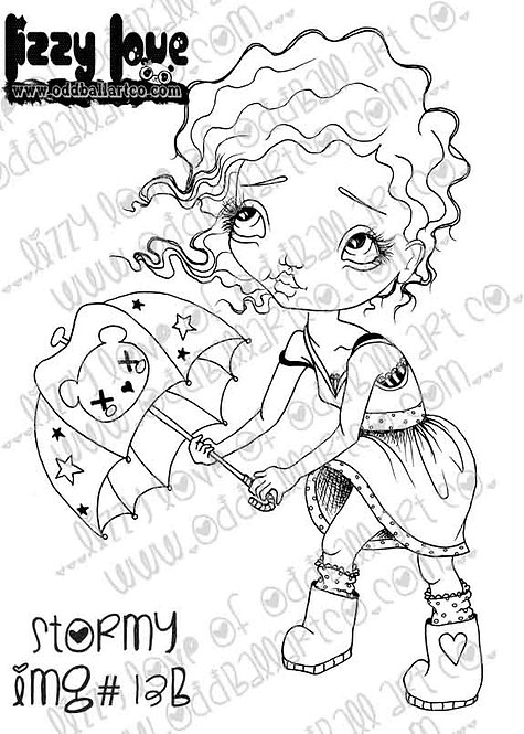 Digital Download Printable Stamp Big Eye Girl w/ Umbrella Stormy Image No. 13