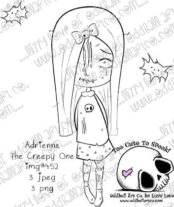 Digi Stamp Adrienne The Creepy One Cute Zombie Printable Stamp Set Image No 452