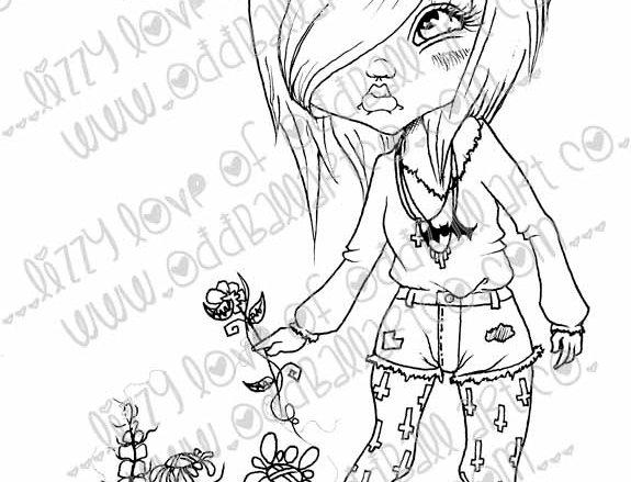 Digi Stamp Creepy Cute Girl & Flowers Tiffs Garden Image 89