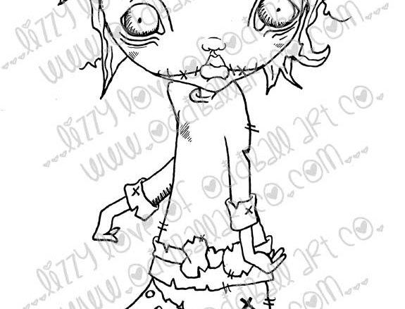 Digital Stamp Creepy Cute Big Eye Zombie Girl Image No. 51