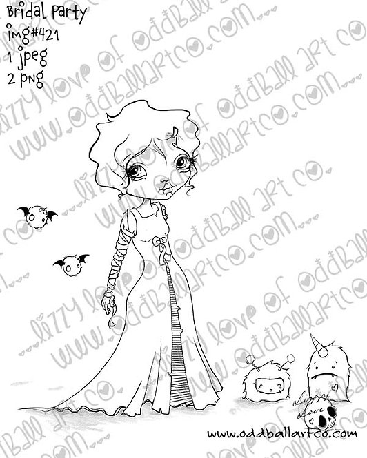 Digital Stamp Creepy Cute Big Eye Creature Art Bridal Party Image No. 421