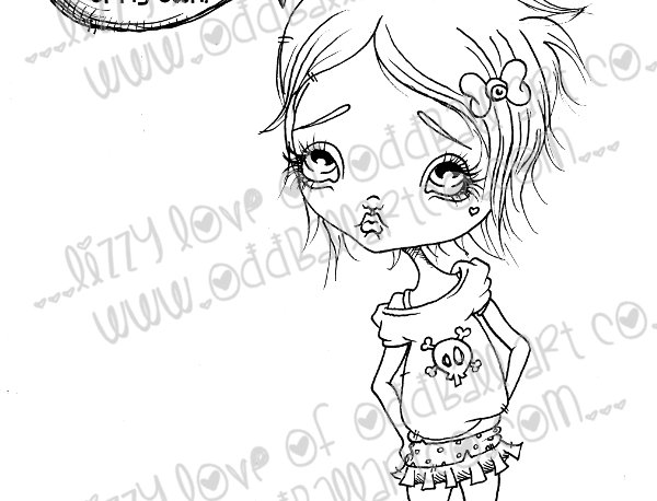 Digital Stamp Big Eye Girl With Attitude Dont Mess With Beany Image No. 161