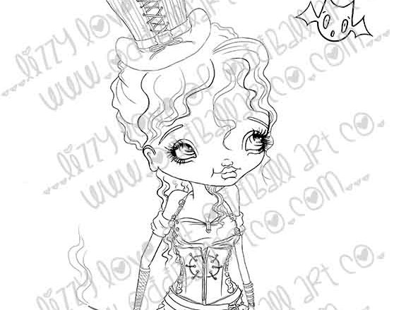"Digital Stamp Steampunk Girl Scarlett ""The Bat"" Pelkington Image No. 251"