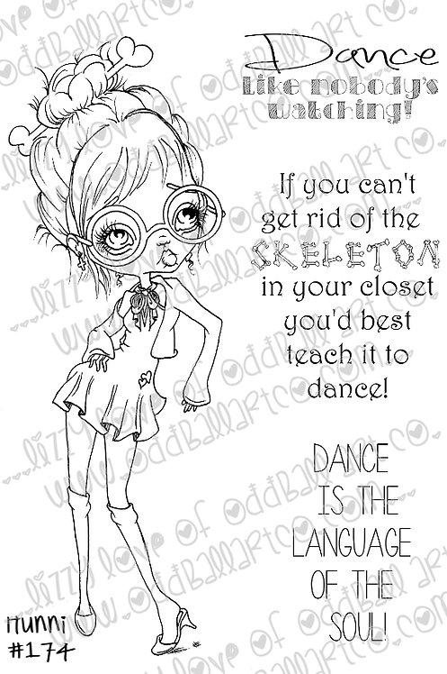 Printable Stamp Big Eye Dancing Girl Hunni Digital Download Image 174